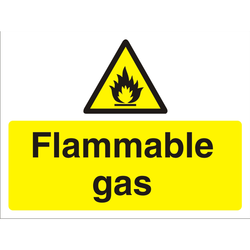 Construction Safety Board 600x450 3mm foam PVC Flammable Gas Ref CON025FB600x450 *Up to 10 Day Leadtime*