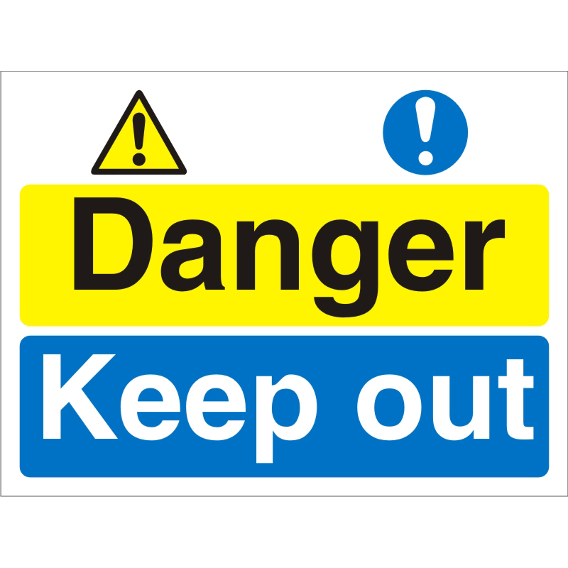 Construction Safety Board 600x450 4mm Fluted Danger Keep Out Ref CON028Cx600x450 Up to 10 Day Leadtime