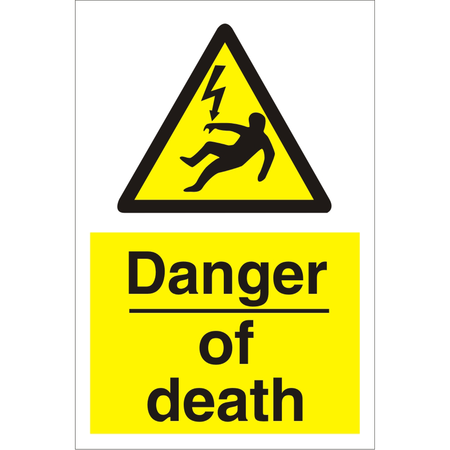 Construction Safety Board 400x600 4mm Fluted Danger of Death Ref CON034Cx400x600 Up to 10 Day Leadtime