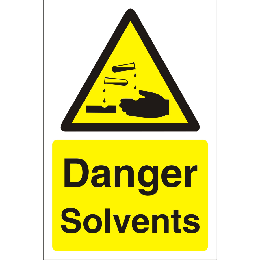 Construction Safety Board 400x600 4mm Fluted Danger Solvents Ref CON038Cx400x600 Up to 10 Day Leadtime