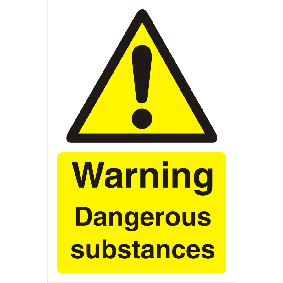 Construction Board 400x600 4mm Warning Dangerous Substances Ref CON039Cx400x600 *Up to 10 Day Leadtime*