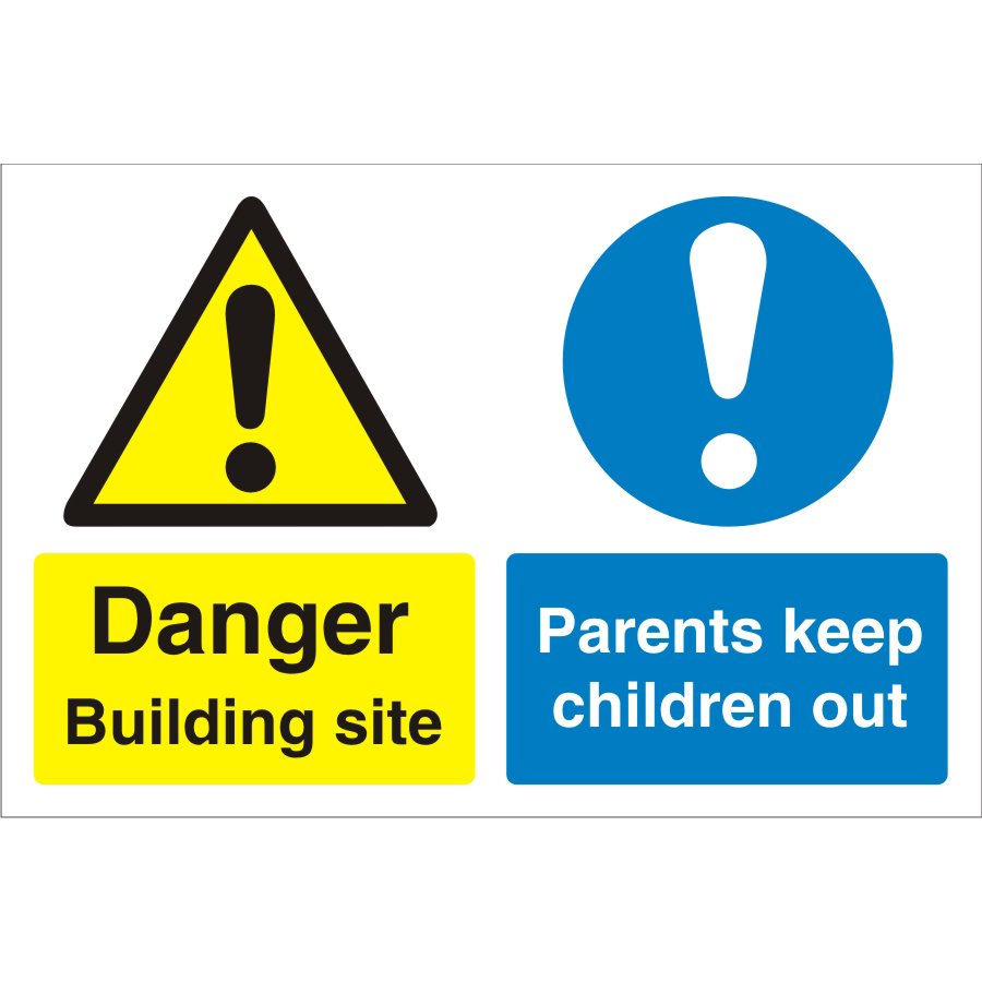 Construction Board 600x450 4mm Building Site Keep Children Out Ref CON049Cx600x450 Upto 10 Day Leadtime