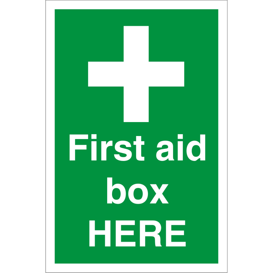 Construction Board 400x600 4mm Fluted First Aid Box Here Ref CON055Cx400x600 *Up to 10 Day Leadtime*