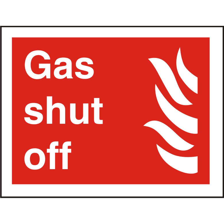 Photolu Fire Fighting Sign 200x300 1mm Plastic Gas shut off Ref FF111PLRP300x200 *Up to 10 Day Leadtime*