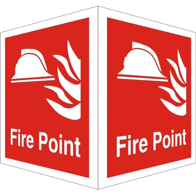 Protruding Fire Sign 2 faces 150x200 each 1mm Fire Point Ref FF127SRP150x200 Up to 10 Day Leadtime