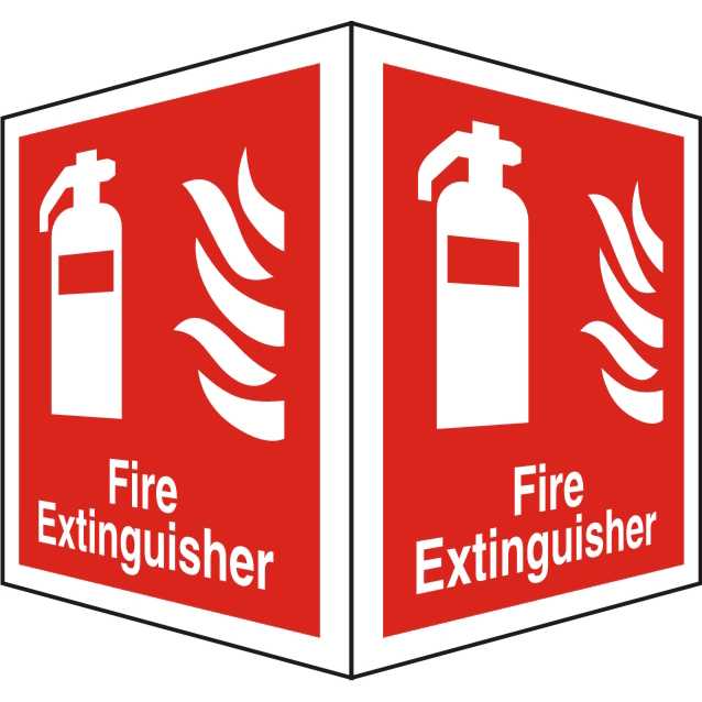 Protruding Sign 2 faces 150x200 each 1mm Fire Extinguisher Ref FF128SRP150x200 *Up to 10 Day Leadtime*