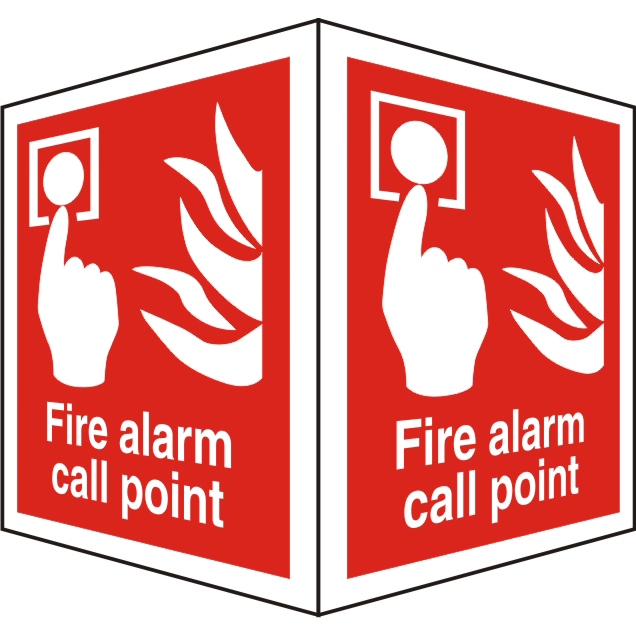 ProtrudingSign 2 faces 150x200 each Fire Alarm Call Point Ref FF129SRP150x200 Up to 10 Day Leadtime