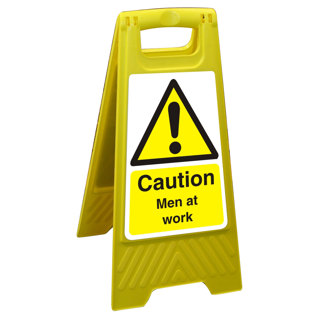 Free Standing Floor Sign 300x600 Poly Caution Men at work Ref FSS003300x600 Up to 10 Day Leadtime