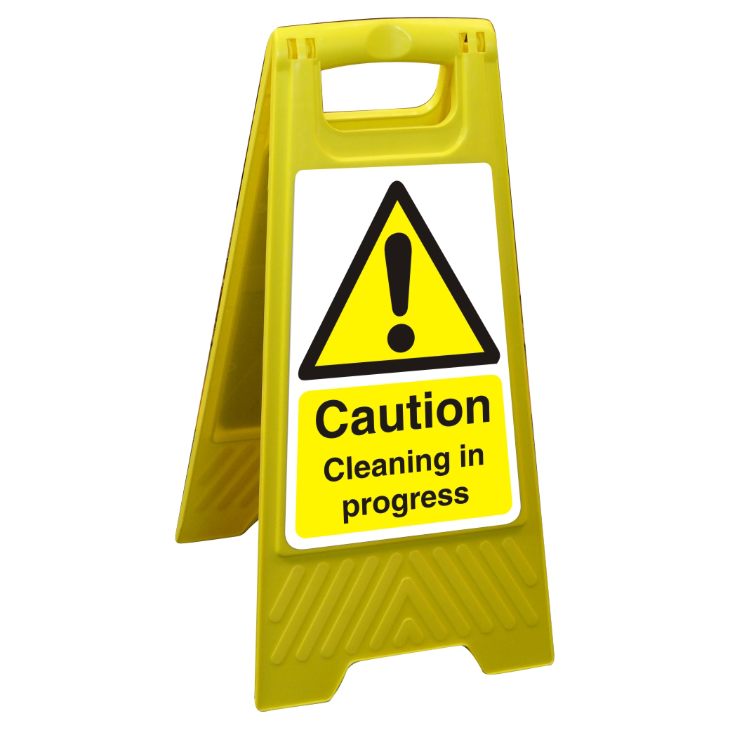 Free Standing Sign 300x600 Poly Caution Cleaning in progress Ref FSS007300x600 Up to 10 Day Leadtime