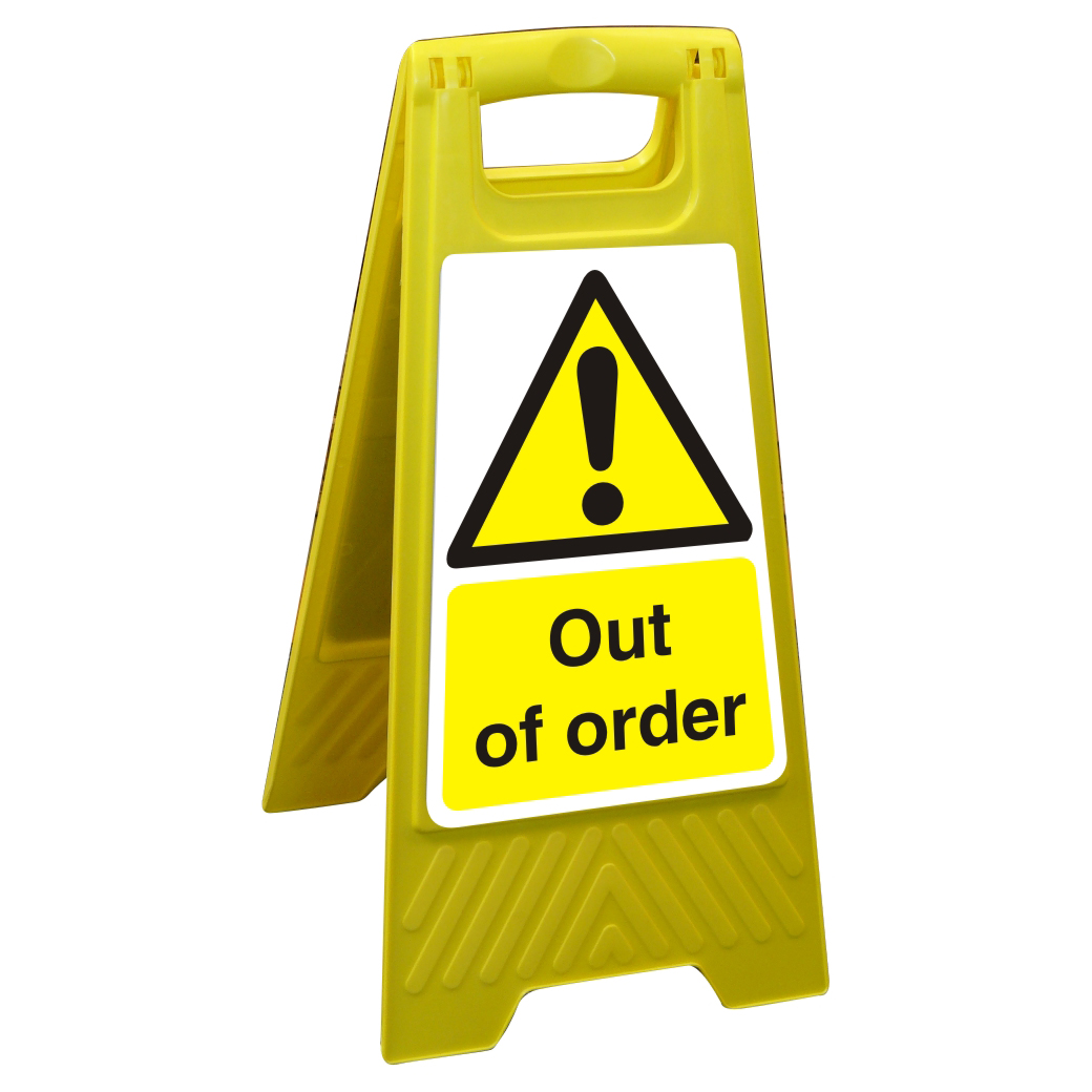 Free Standing Floor Sign 300x600 Polypropylene Out of order Ref FSS008-300x600 *Up to 10 Day Leadtime*