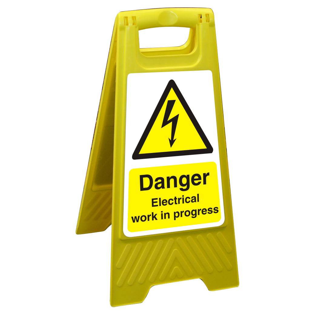 Image for Floor Sign 300x600 Poly Danger Electriical work in progress Ref FSS012300x600 Up to 10 Day Leadtime