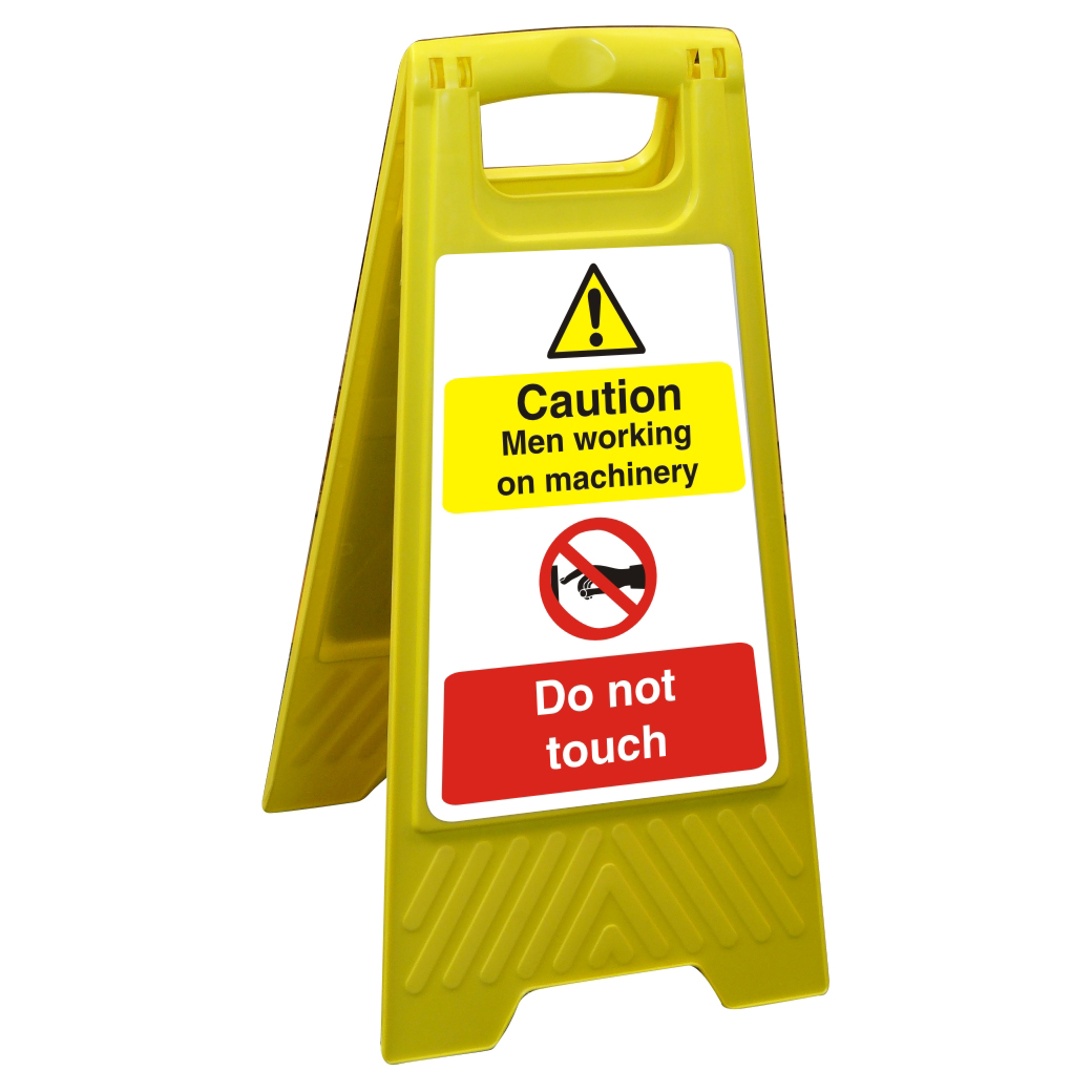 Free Standing Sign 300x600 Caution Men working on machinery Ref FSS014300x600 Up to 10 Day Leadtime