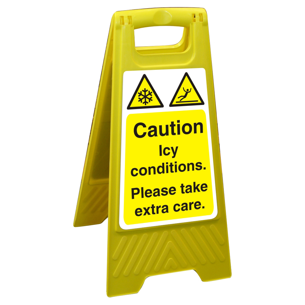 Image for Free Standing Floor Sign 300x600 Poly Caution Icy conditions Ref FSS016300x600 Up to 10 Day Leadtime