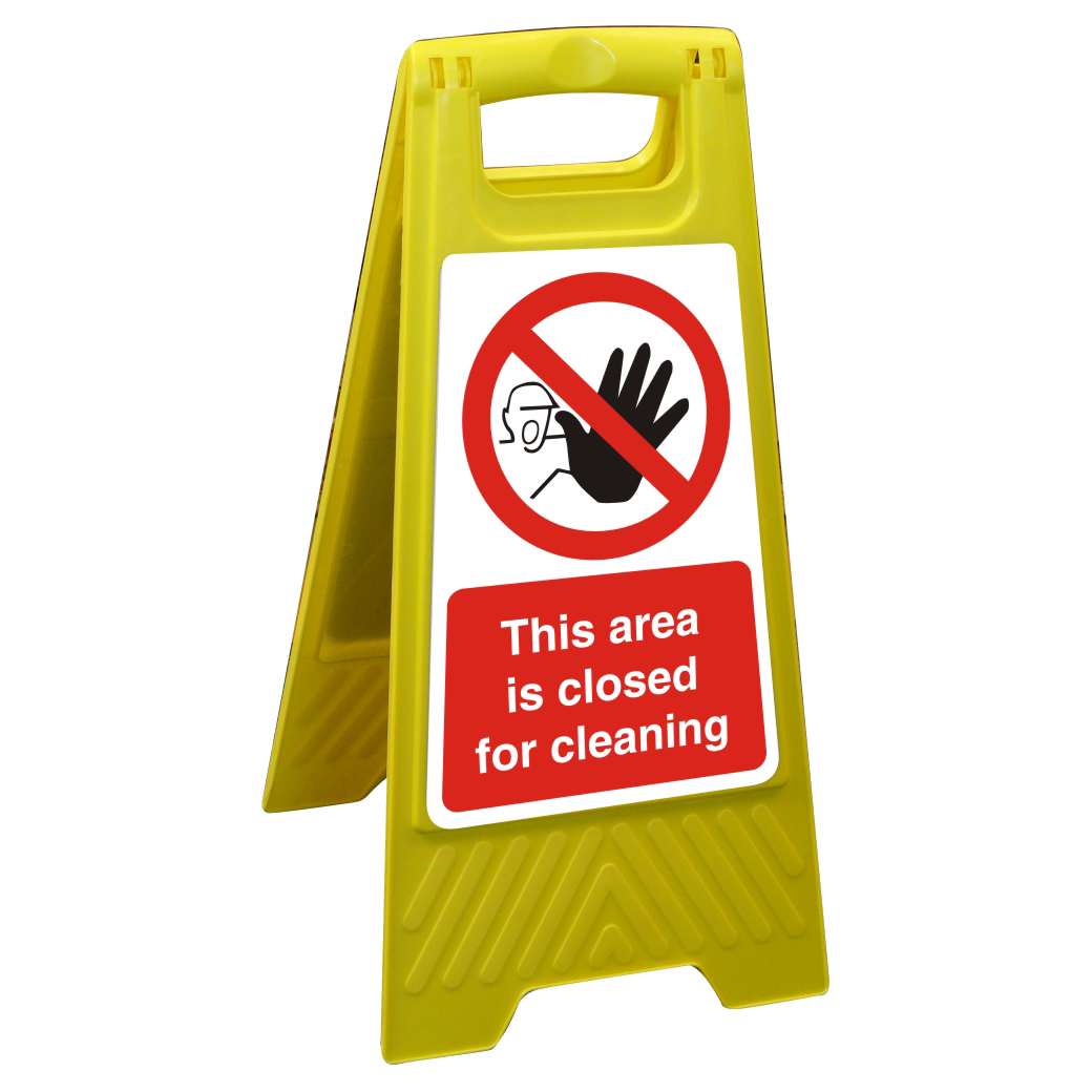 Hazard Free Standing Sign 300x600 This area is closed for cleaning Ref FSS020300x600 *Up to 10 Day Leadtime*