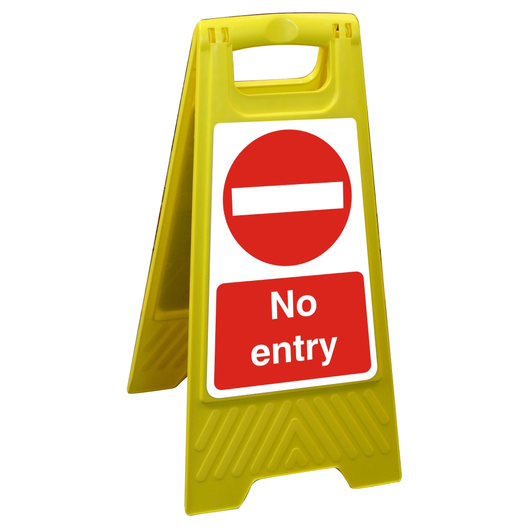 Free Standing Floor Sign 300x600 Polypropylene No entry Ref FSS023-300x600 *Up to 10 Day Leadtime*
