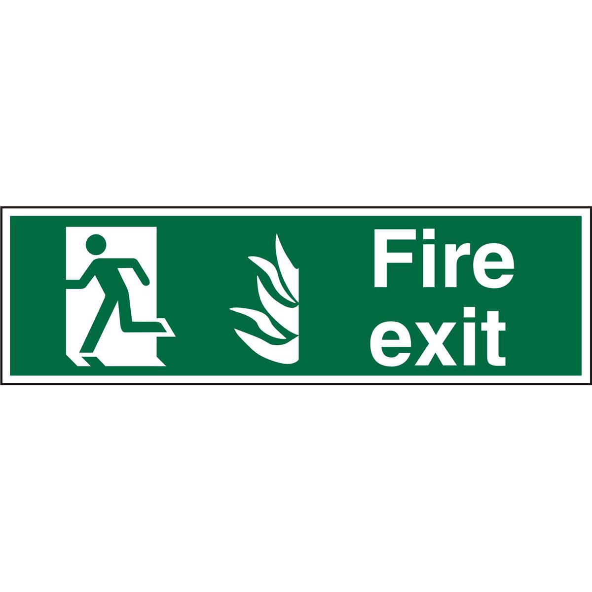 NHS Compliant Sign 600x200 1mm Fire Exit Man Running Left Ref HSP083SRP600x200 Up to 10 Day Leadtime