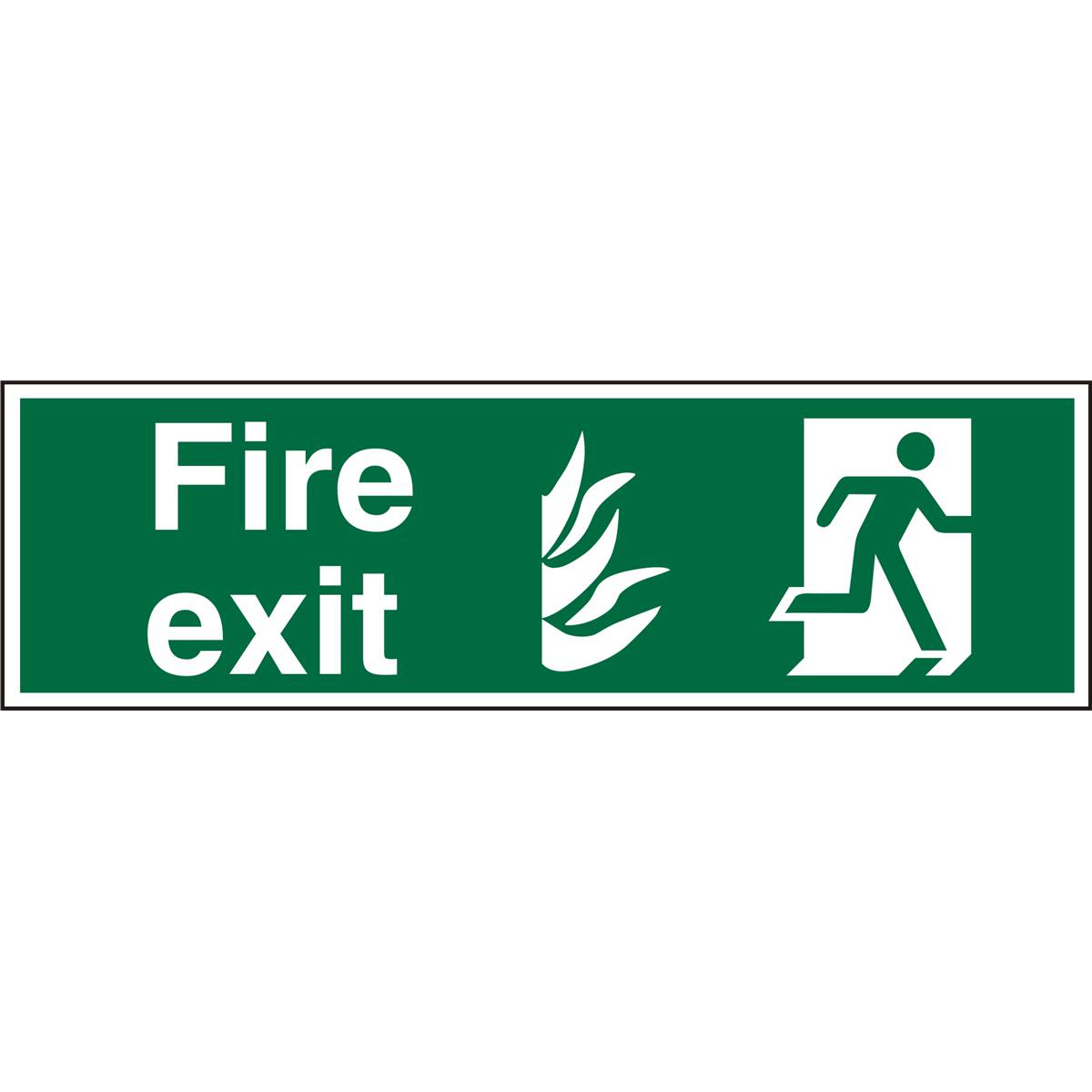 NHS Compliant Sign 600x200 1mm Fire Exit Man Running Right Ref HSP084SRP600x200 Up to 10 Day Leadtime