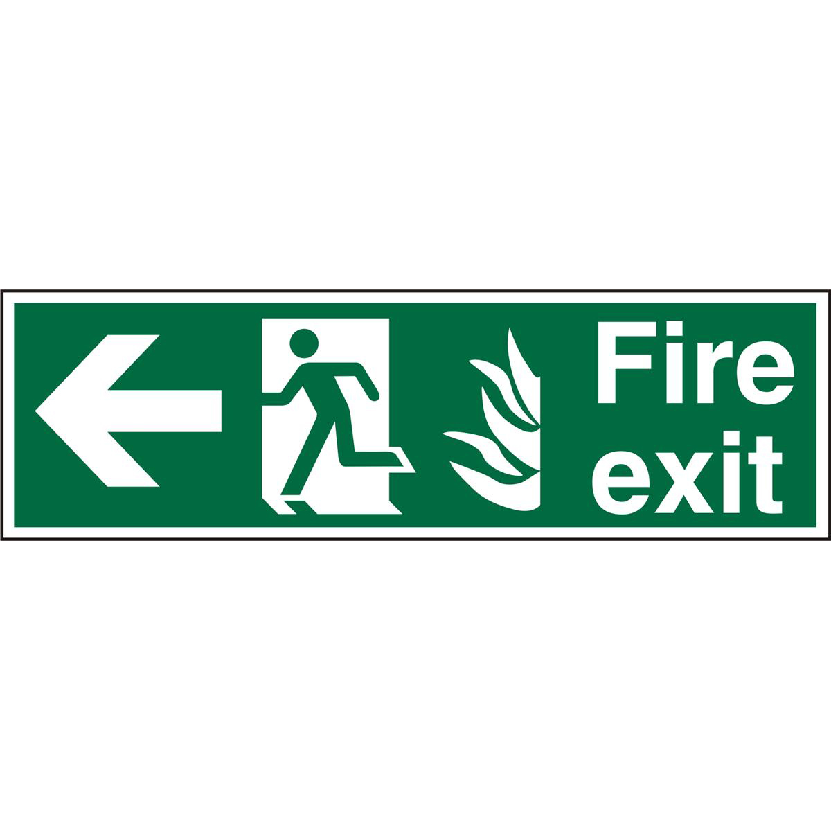 NHS Sign 600x200 1mm FireExit Man Running&Arrow Left Ref HSP120SRP600x200 Up to 10 Day Leadtime