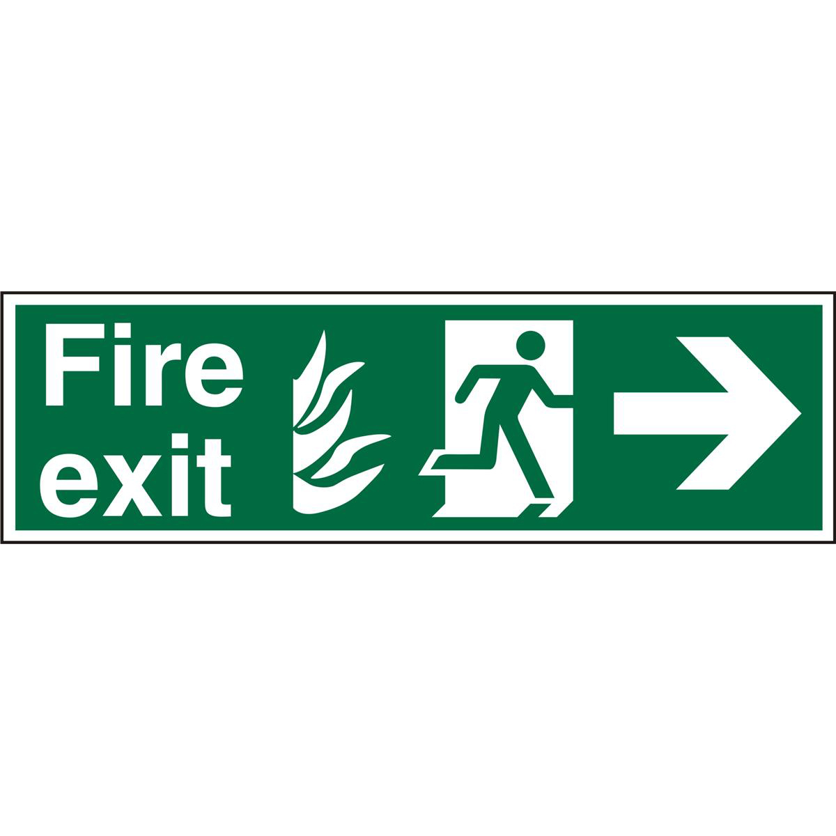 NHS Sign 600x200 1mm FireExit Man Running&Arrow Right Ref HSP121SRP600x200 Up to 10 Day Leadtime