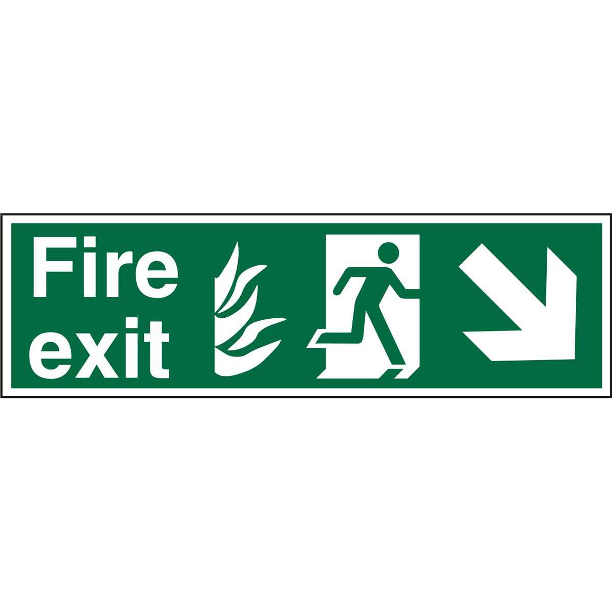 NHS Sign 600x200 1mm FireExit Man Running Right&Arrow brhc Ref HSP123SRP600x200 Up to 10 Day Leadtime