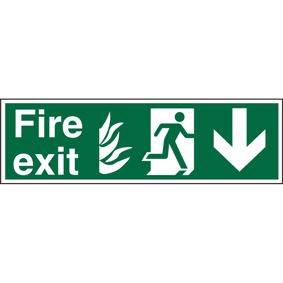NHS Sign 600x200 1mm FireExit Man Running Right&Arrow Down Ref HSP124SRP600x200 Up to 10 Day Leadtime