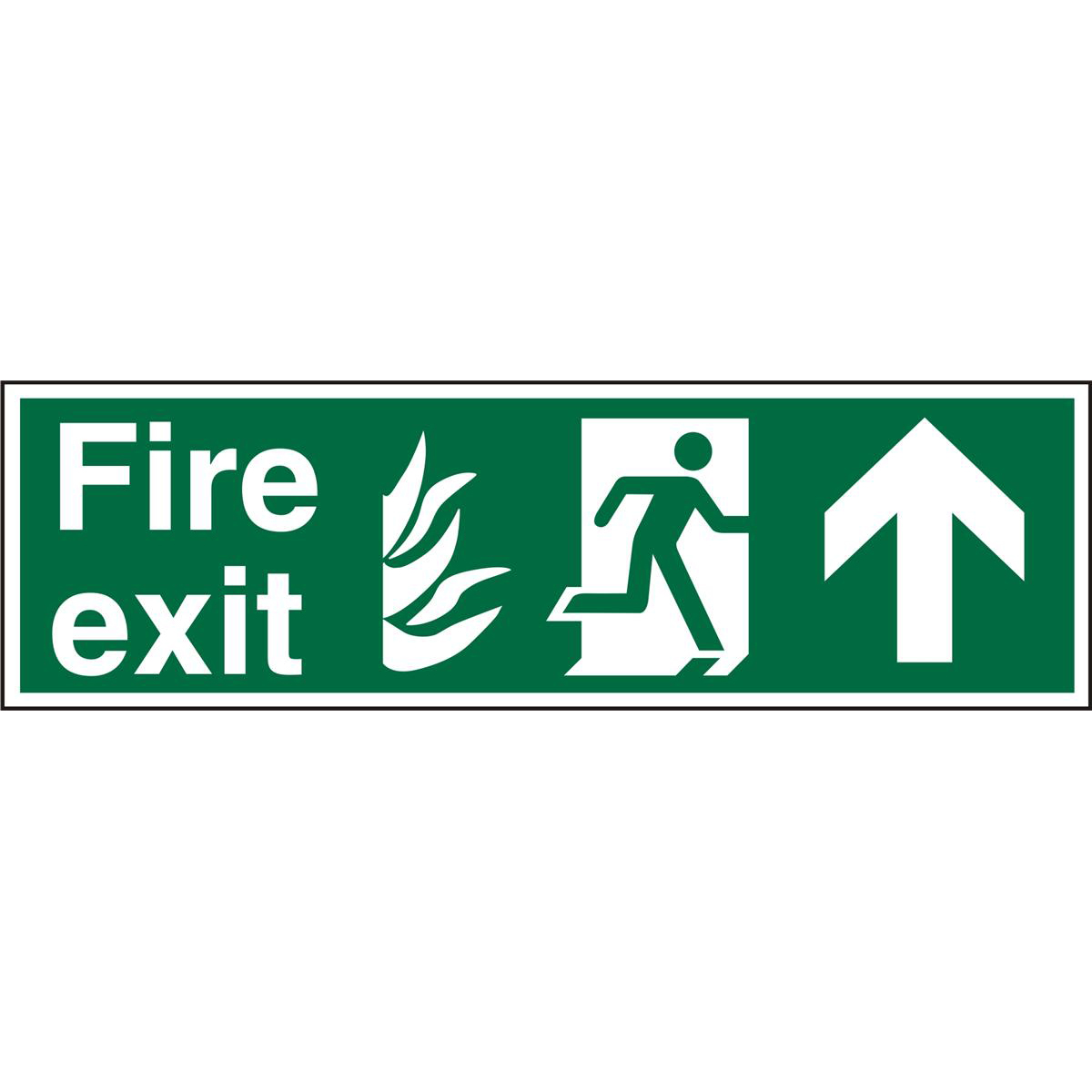 NHS Sign 600x200 1mm FireExit Man Running Right&Arrow Up Ref HSP129SRP600x200 Up to 10 Day Leadtime