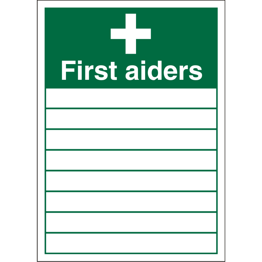 Warehouse Sign 600x400 Plastic First Aiders List of names Ref KS007SRP400x600 *Up to 10 Day Leadtime*