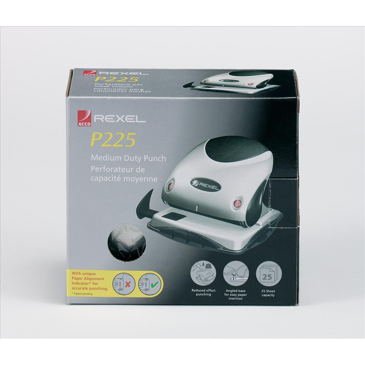 Rexel P225 Punch 2-Hole Robust Metal with Nameplate Capacity 25x 80gsm Silver and Blue Ref 21007445