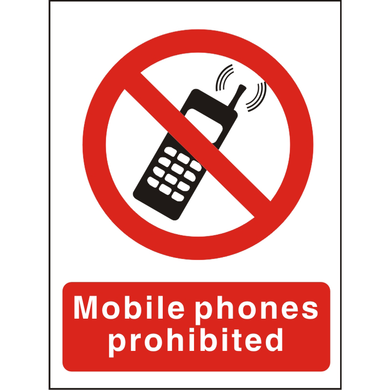 Prohibition Sign 300x400 1mm Plastic Mobile phones prohibited Ref P087SRP300x400 Up to 10 Day Leadtime