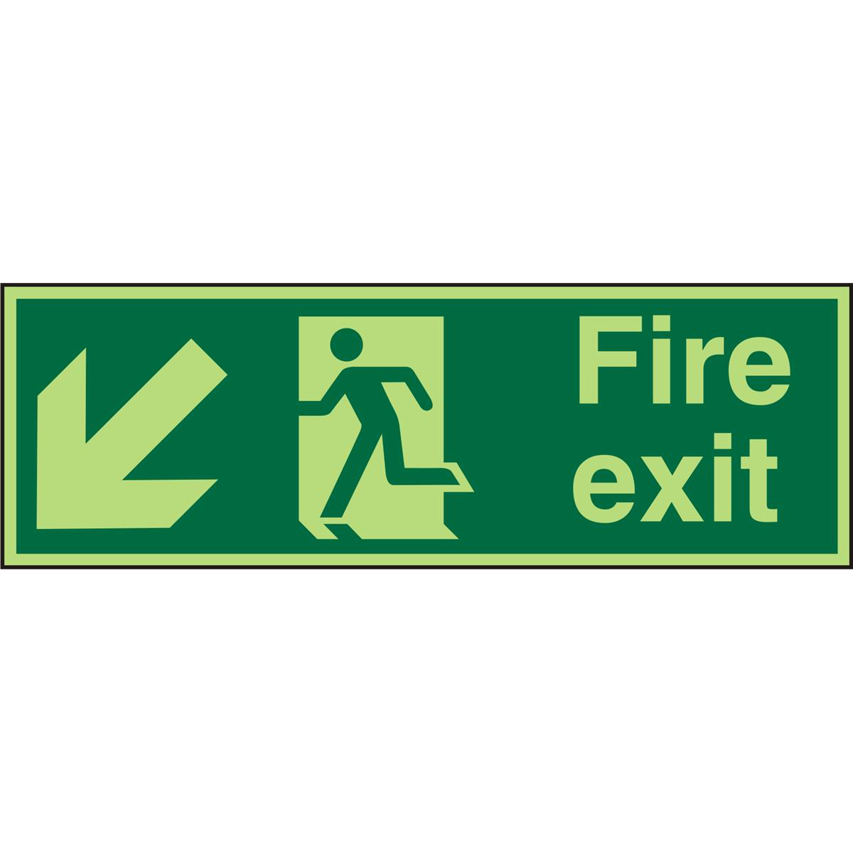 PhotolumSign 2mm 450x150 FireExit Man Running Left&Arrow Ref PACSP122450x150 Up to 10 Day Leadtime