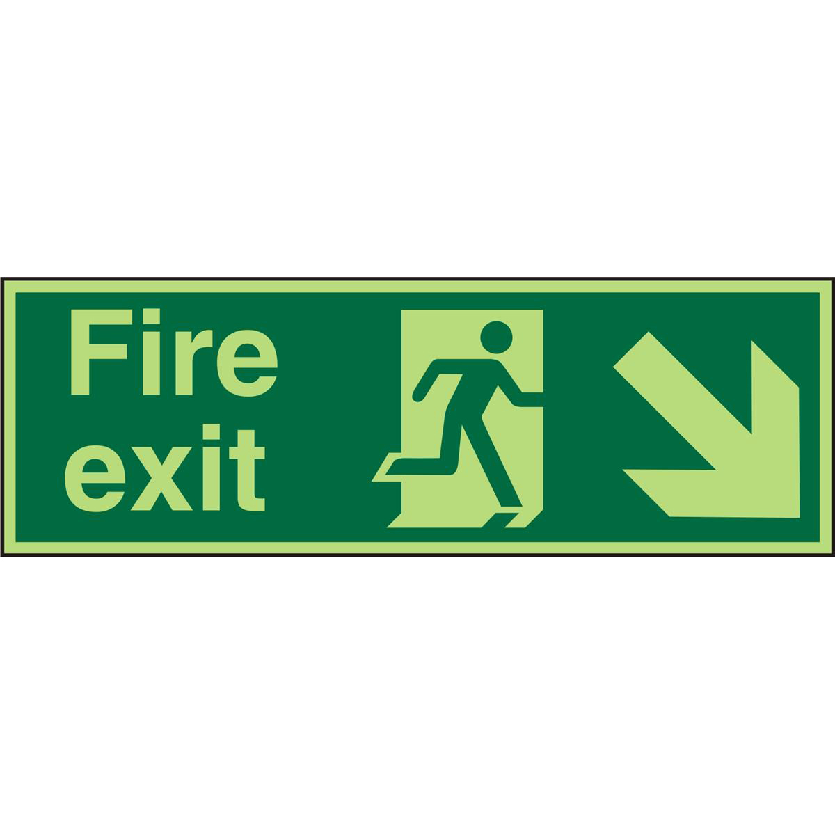 Photolum Sign 2mm 300x100 FireExit Man Run Right&Arrow brhc Ref PACSP123300x100 Up to 10 Day Leadtime