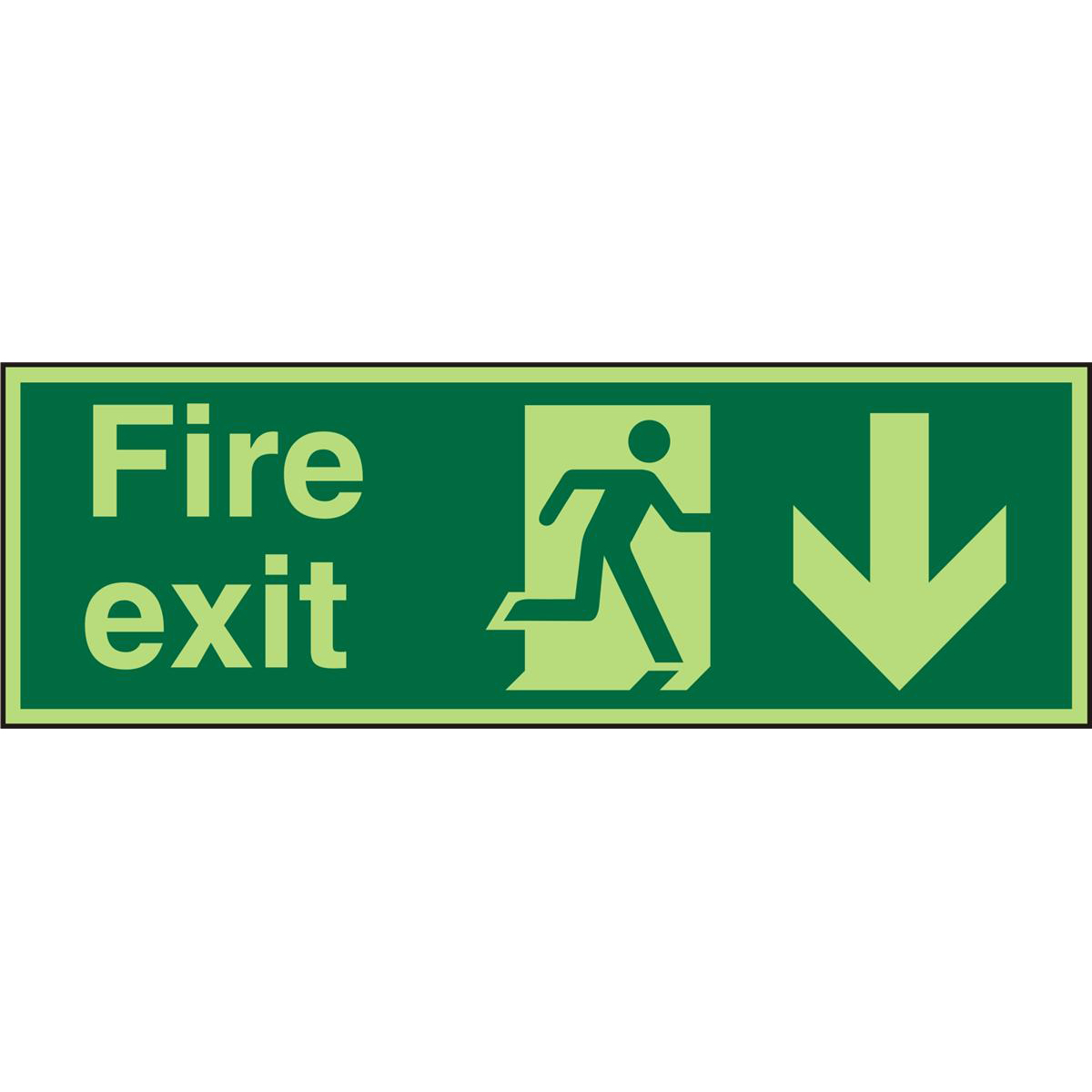 Photolum Sign 2mm 300x100 FireExit Man Run Right&Arrow Down Ref PACSP124300x100 *Up to 10 Day Leadtime*