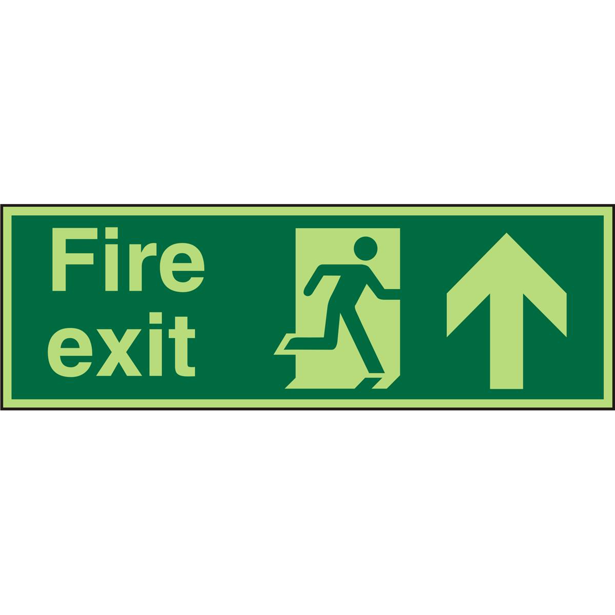 PhotolumSign 2mm 450x150 FireExit Man Running Right&Arrow Up Ref PACSP129450x150 *Up to 10 Day Leadtime*