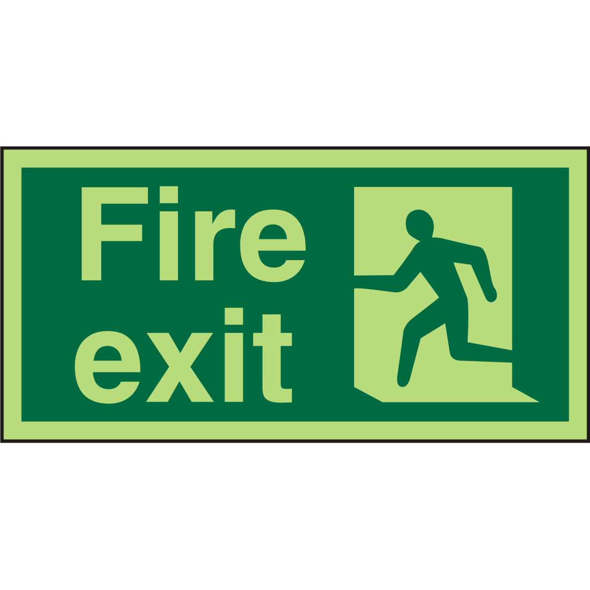 Photolum Exit Sign 2mm 300x150 Fire Exit Man Running Left Ref PACSP319300x150 *Up to 10 Day Leadtime*