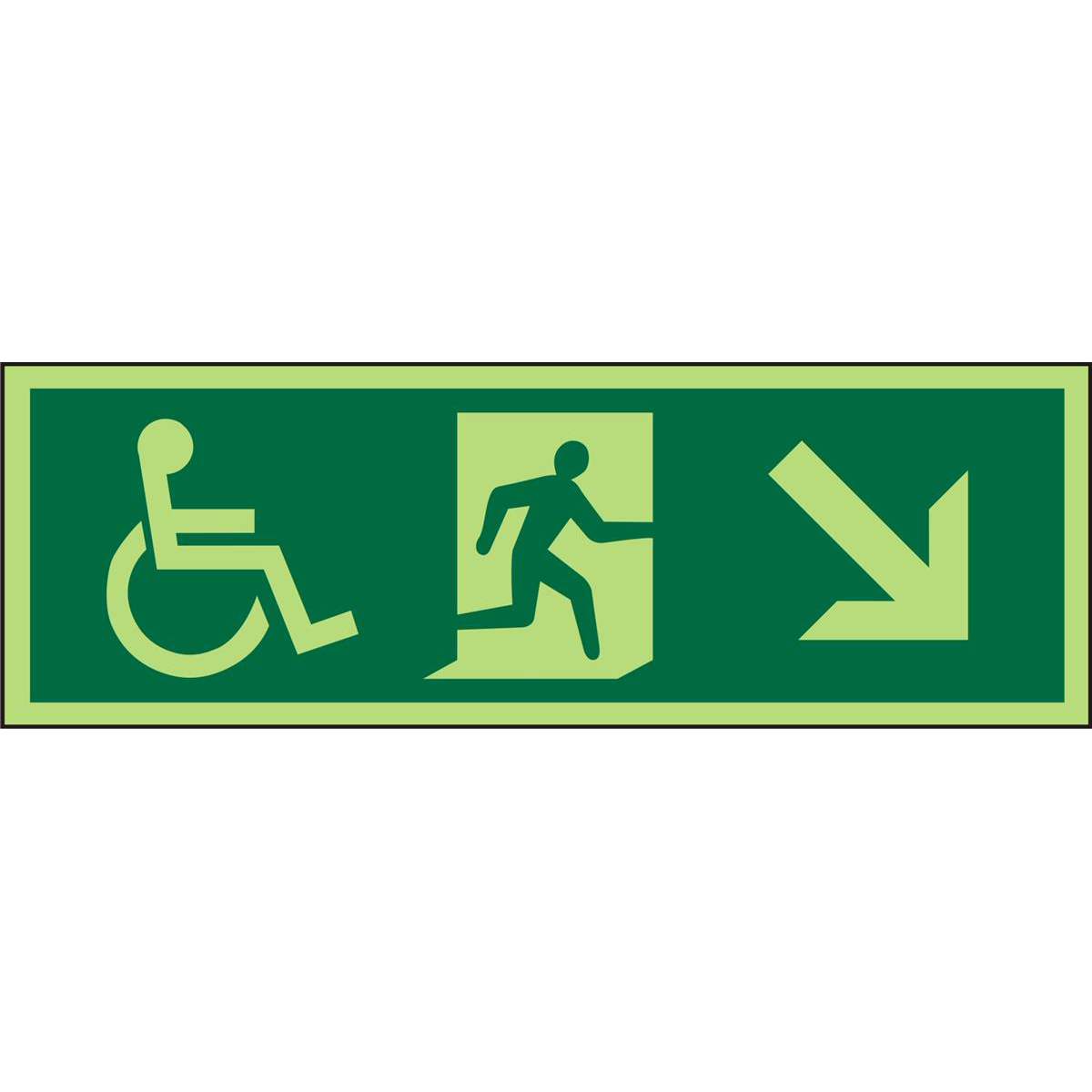 Photol ExitSign 2mm Wheelchair Picto/Manrun rightArrow downright Ref PDSP061450x150 *Upto 10Day Leadtime*