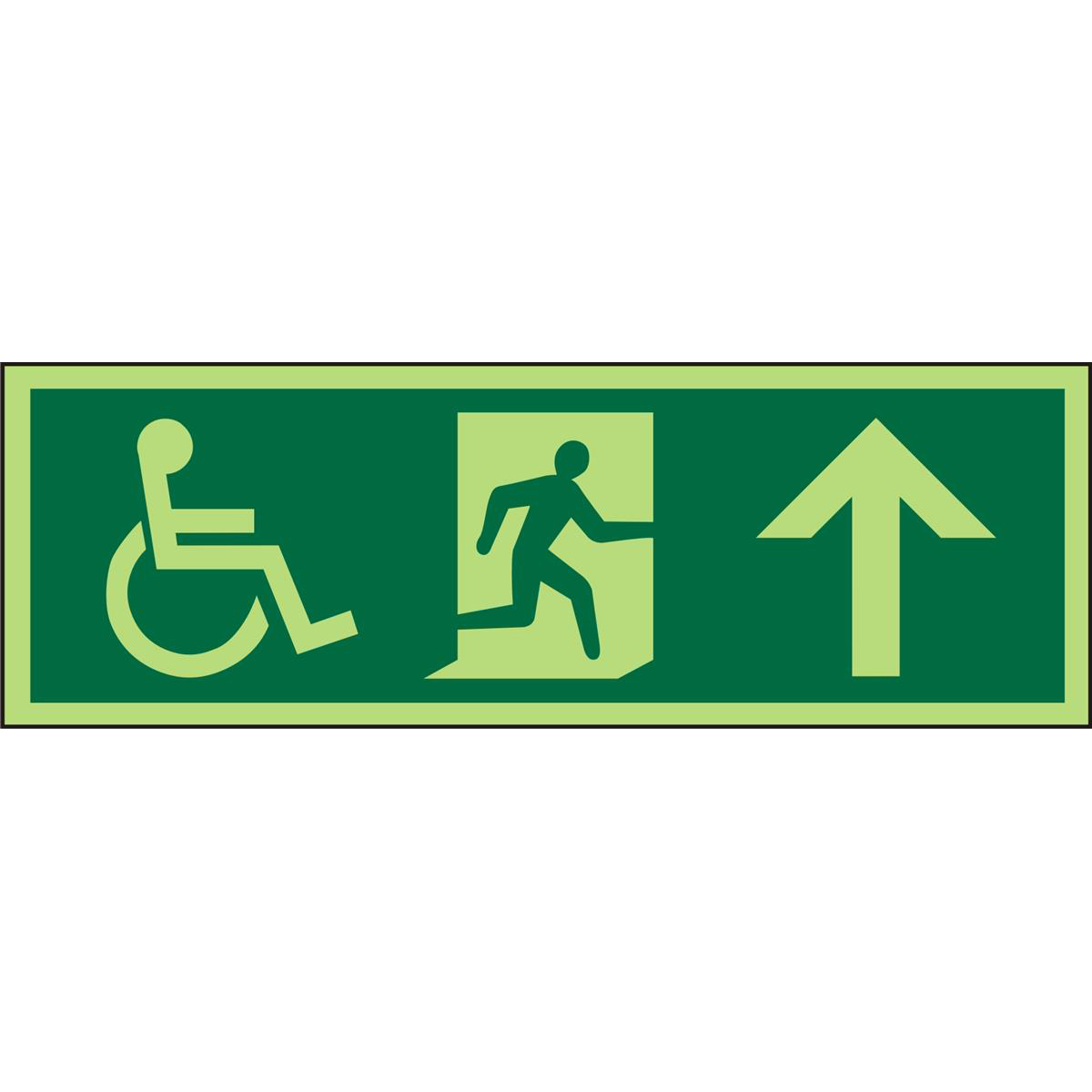 Photol Exit Sign 2mm Wheelchair Picto/Man run right Arrow up Ref PDSP094450x150 *Up to 10Day Leadtime*