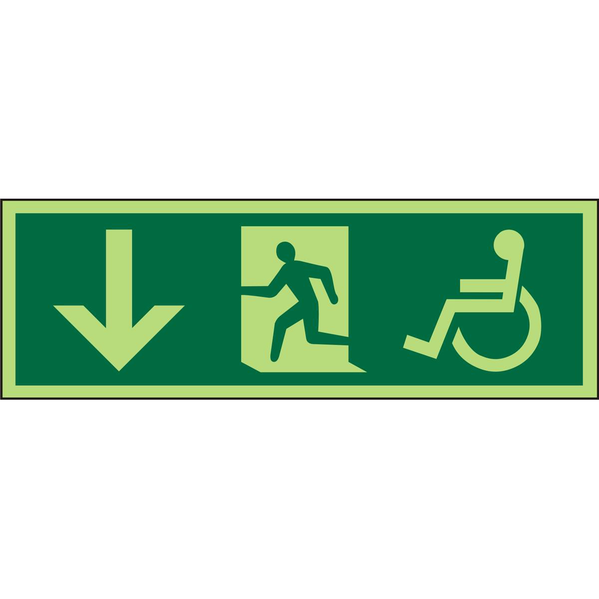 Photol Exit Sign 2mm Wheelchair Picto/Man run right Arrow down Ref PDSP095450x150 *Up to 10Day Leadtime*