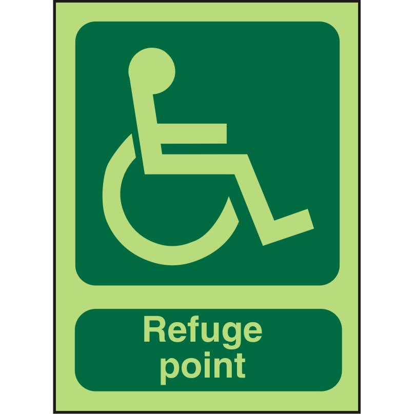 Photolum Sign 2mm 150x200 Wheel Chair Pictogram Refuge point Ref PDSP100150x200 *Up to 10 Day Leadtime*