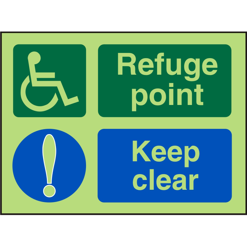 Photol Exit Sign 2mm Wheelchair Picto/Ref uge point Keep Clear Ref PDSP101200x150 *Upto 10Day Leadtime*