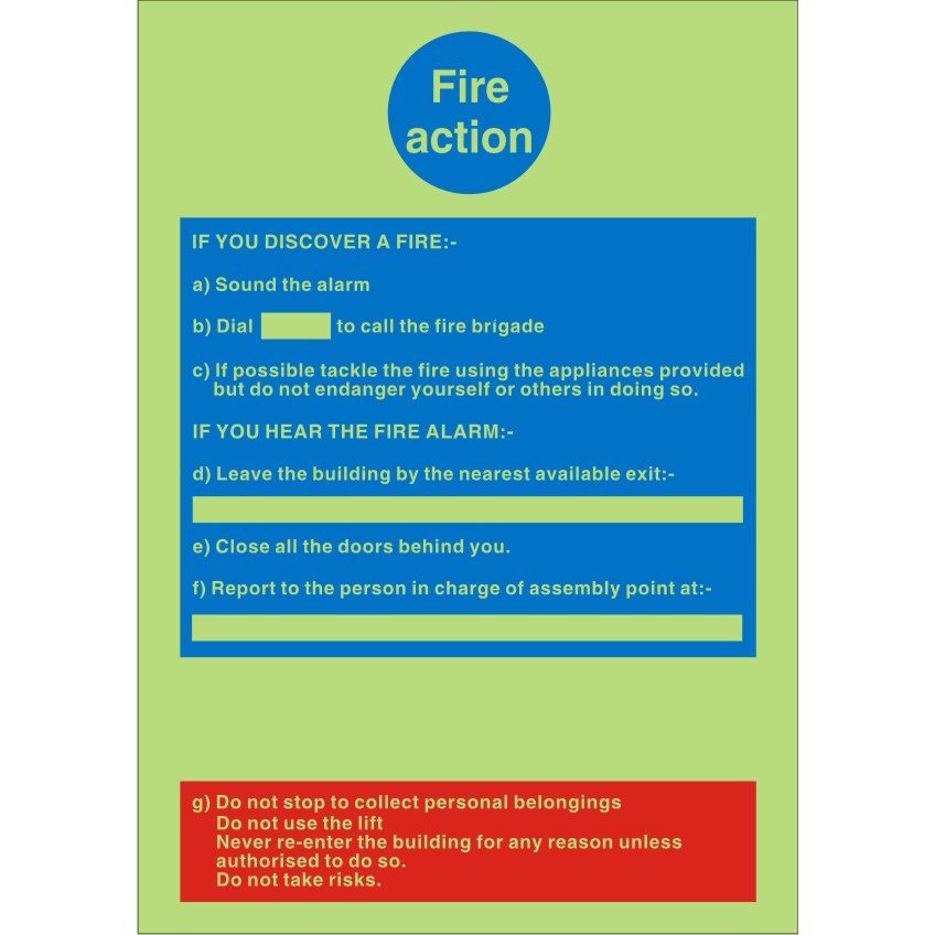 Photoluminescent Safe Sign 200x300 1mm Plastic Fire Action Ref PM011SRP200x300 Up to 10 Day Leadtime