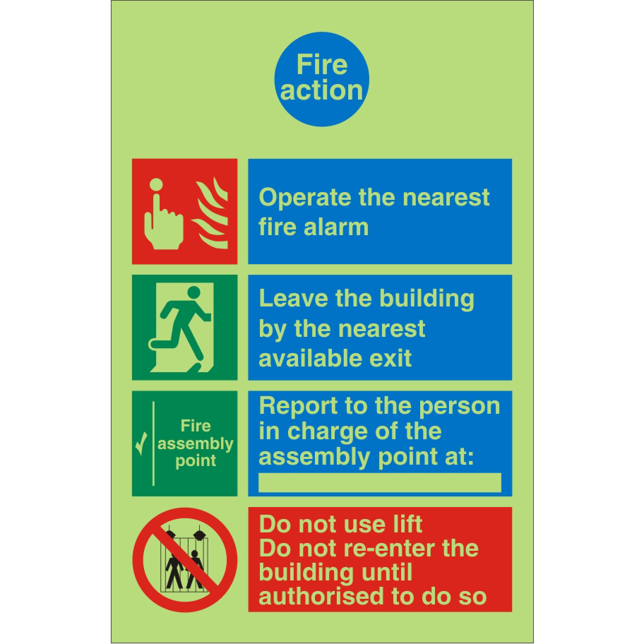 Photoluminescent Safe Sign 200x300 1mm Plastic Fire Action Ref PM031SRP200x300 Up to 10 Day Leadtime