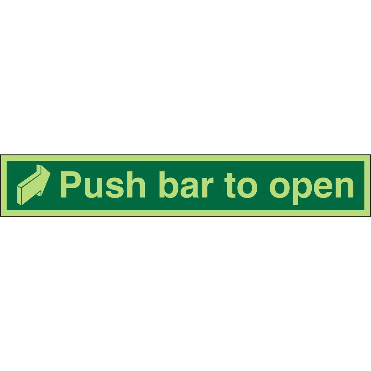 Photolum Safe Sign 600x100 1mm Push Bar To Open Arrow right Ref PSP056SRP600x100 Up to 10 Day Leadtime