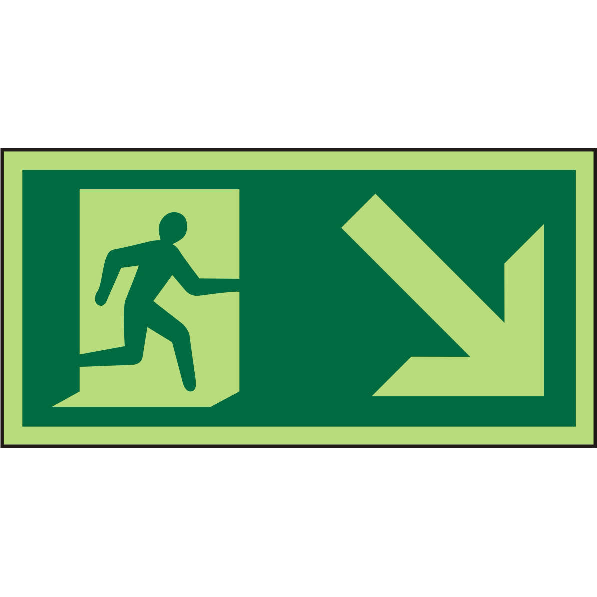 Photolum Sign 300x150 1mm Plastic Man Running Right&Arrow Ref PSP061SRP300x150 Up to 10 Day Leadtime