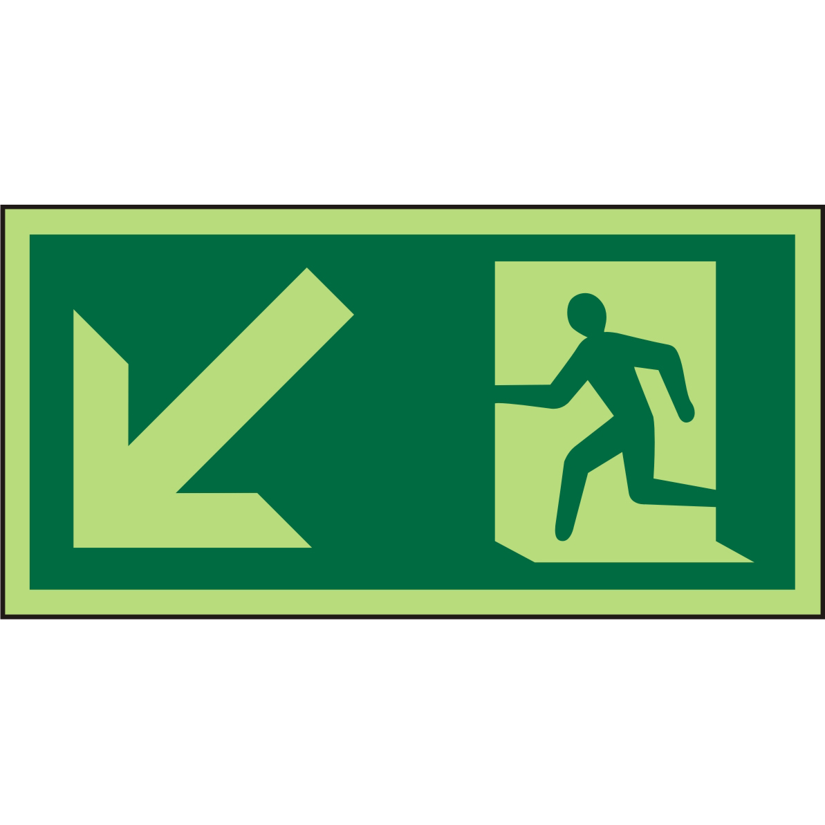 Photolum Sign 300x150 1mm Plastic Man Running Left&Arrow Ref PSP062SRP300x150 Up to 10 Day Leadtime