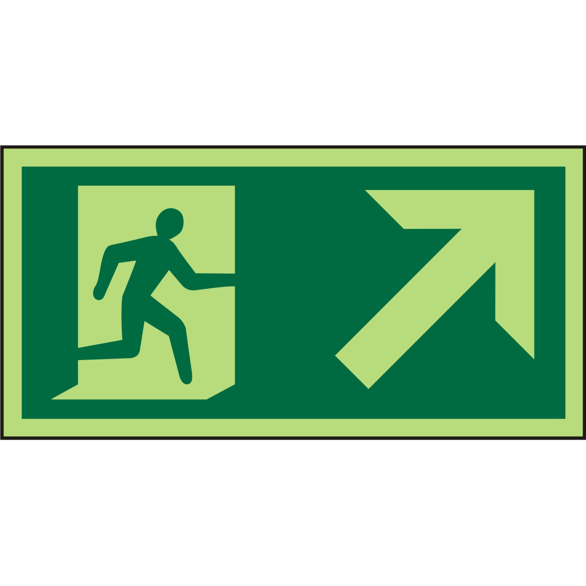 Photolum Sign 300x150 1mm Man Running Right&Arrow tbrhc Ref PSP063SRP300x150 Up to 10 Day Leadtime
