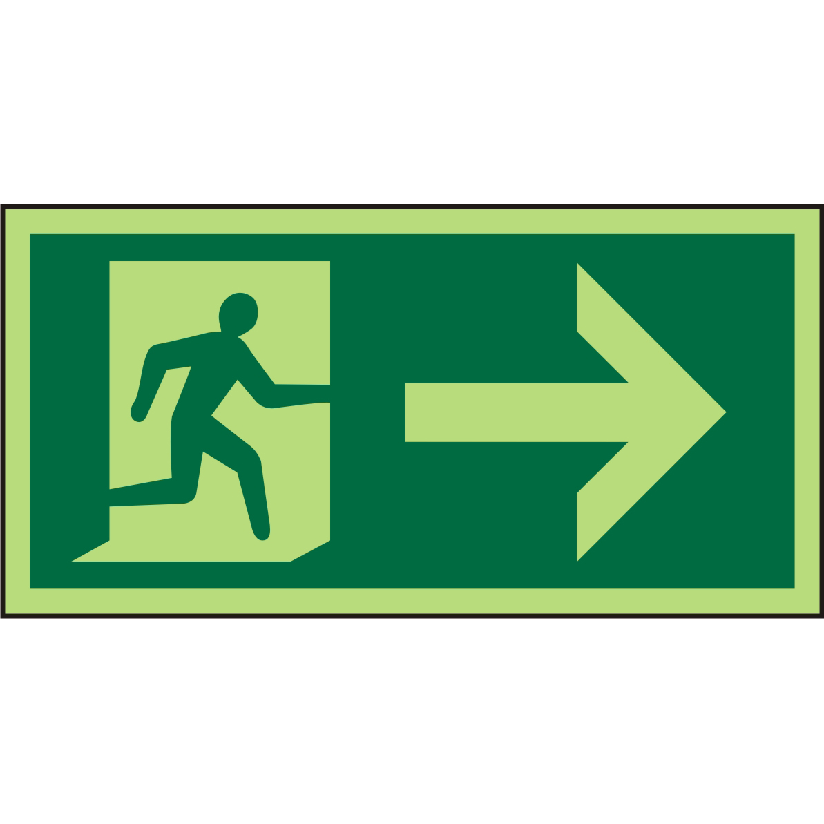 Photolum Sign 300x150 1mm Plastic Man Running & Arrow right Ref PSP065SRP300x150 *Up to 10 Day Leadtime*