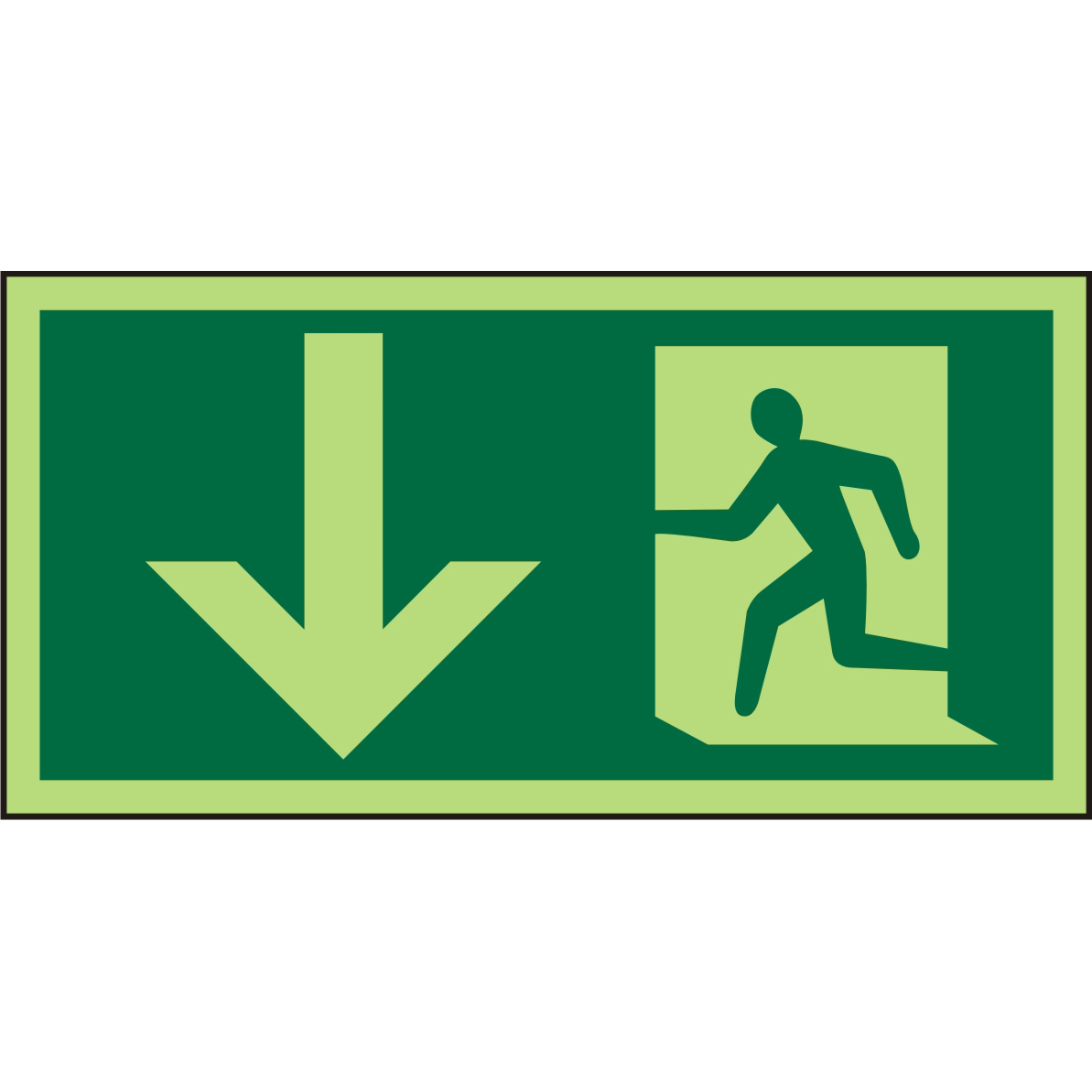 Photolum Sign 300x150 Plastic Man Running Left&Arrow down Ref PSP095SRP300x150 Up to 10 Day Leadtime