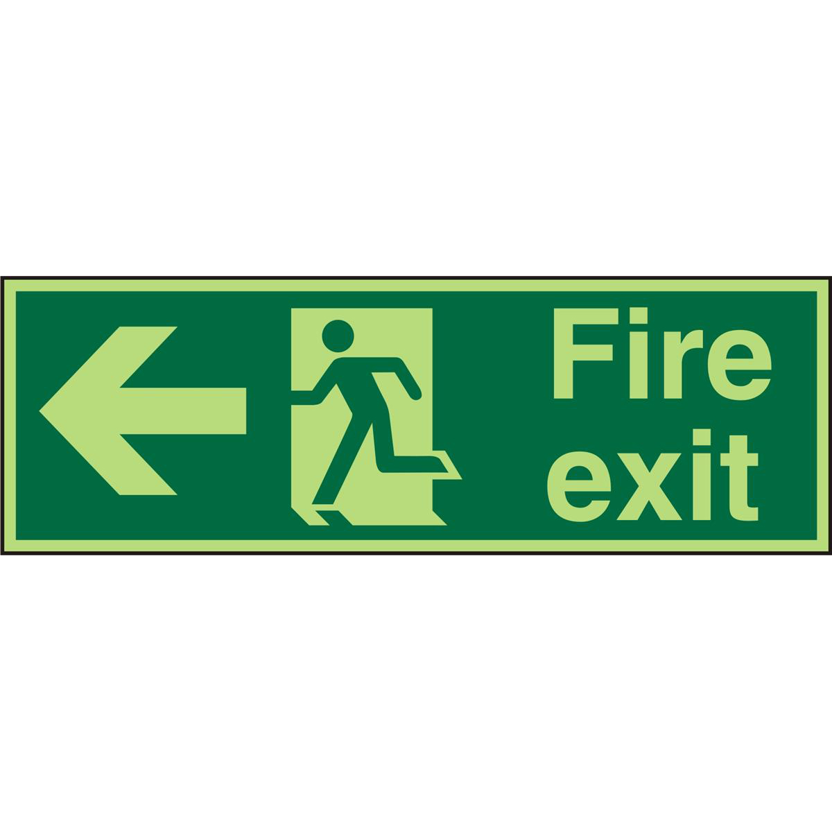 Photolum Sign 600x200 1mm FireExit Man Running&Arrow Left Ref PSP120SRP600x200 *Up to 10 Day Leadtime*