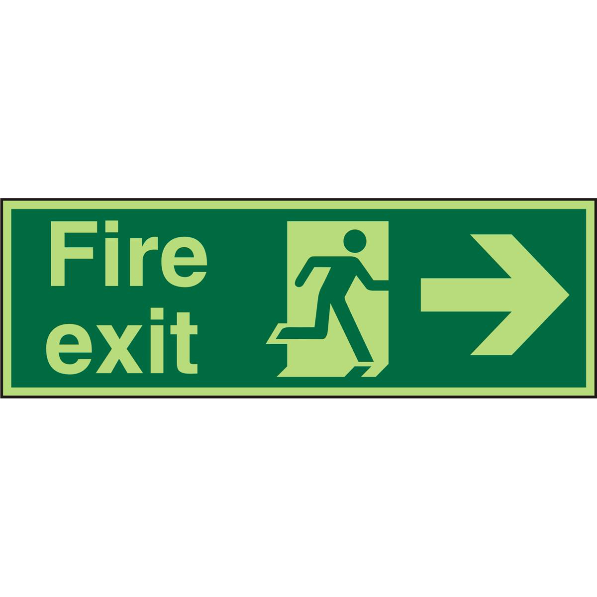 Photolum Sign 600x200 1mm FireExit Man Running&Arrow Right Ref PSP121SRP600x200 Up to 10 Day Leadtime