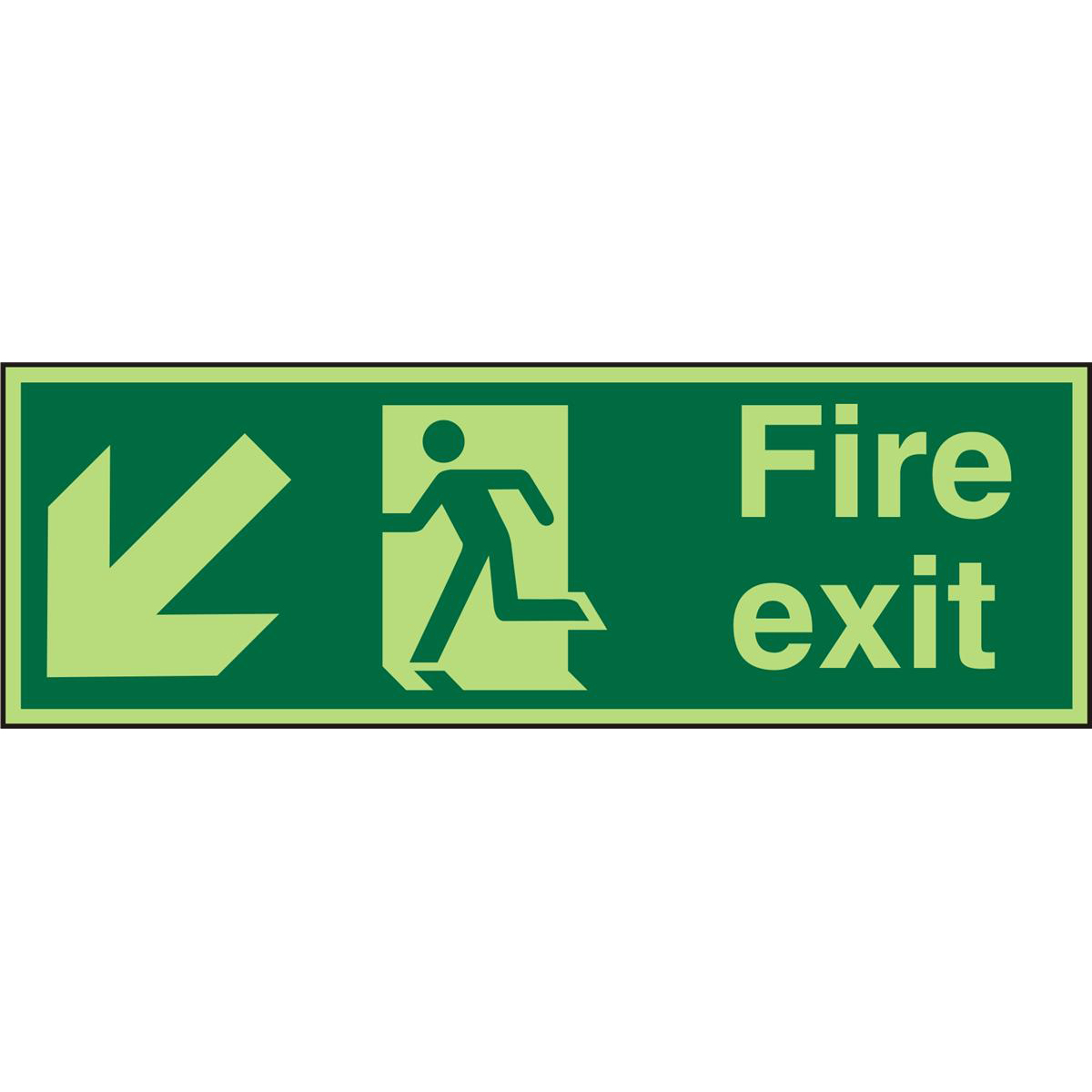 PhotolumSgns 450x150 1mm FireExit Man Running Left&Arrow Ref PSP122SRP450x150 *Up to 10 Day Leadtime*